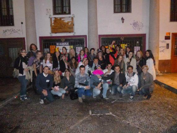 Galera num pubcrawl promovido pela ESN Valladolid