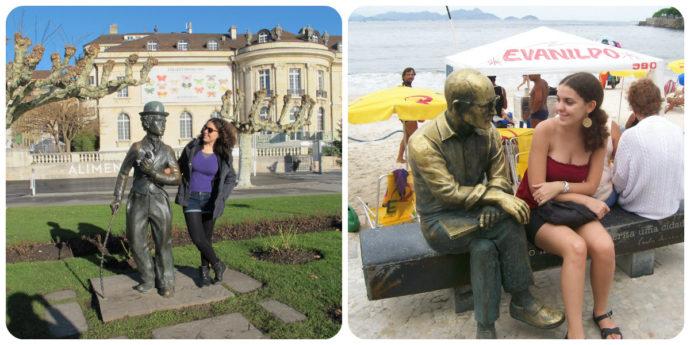 Interagir com estátuas é um clássico jacu. Chaplin em Vevey e Drummond no Rio.