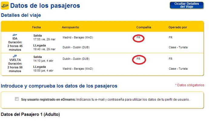 Código da Ryanair na página do eDreams