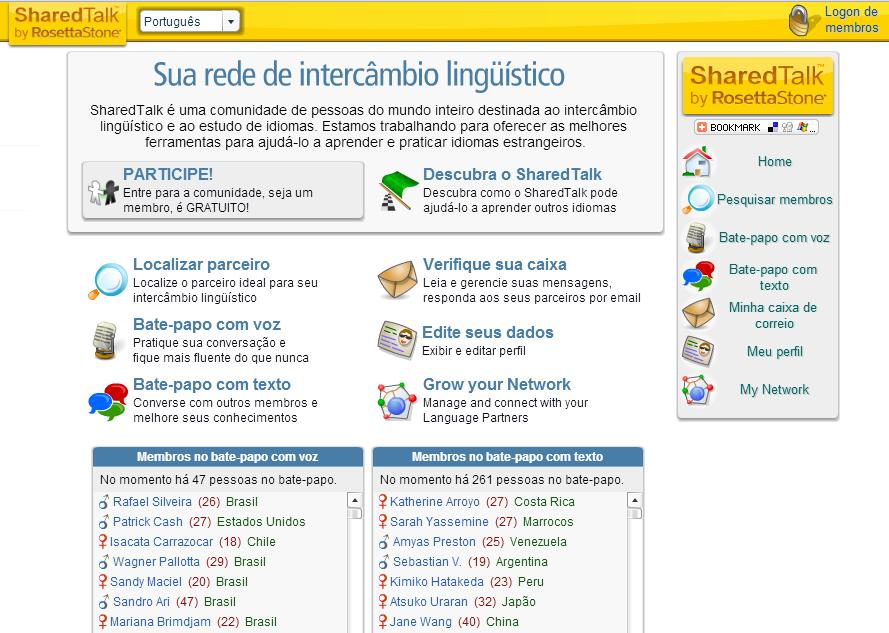 Sharedtalk é um dos melhores sites pra encontrar colegas de intercâmbio linguístico