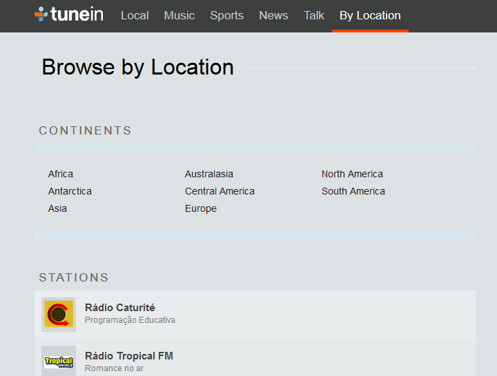 O TuneIn tem rádios do mundo todo e tem app pra celular