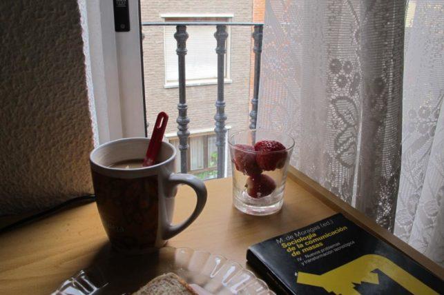 Café da manhã: chá, morangos e dissertação