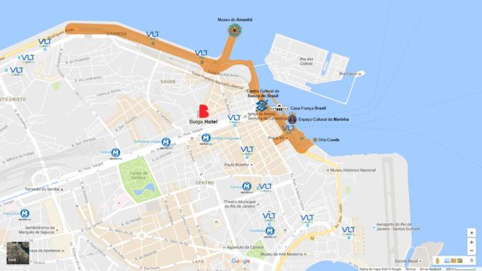 Mapa Centro do Rio com Belga Hotel